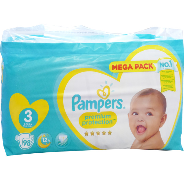 PAMPERS PREMIUM PROTECTION MEGA PACK 98 COUCHES fdeb66669669