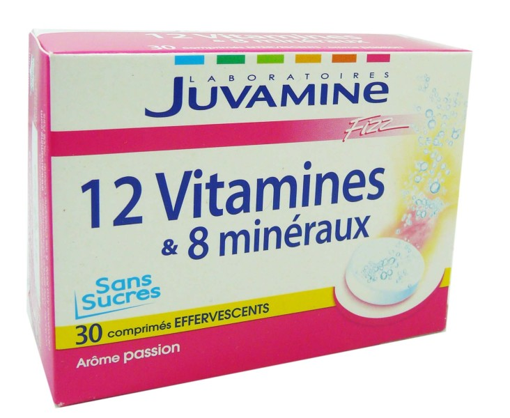 juvamine 12 vitamines 8 mineraux 30 comprimes effervescents. Black Bedroom Furniture Sets. Home Design Ideas