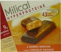 MILICAL HYPERPROTEINE 6 BARRES MINCEUR CHOCOLAT ORANGE